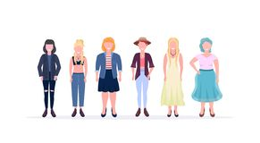 Casual women standing together smiling different body shape types and hairstyles girls female cartoon characters full royalty free stock photos