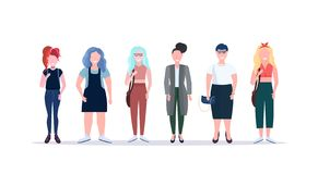 Casual women standing together smiling different body shape types and hairstyles girls female cartoon characters full royalty free stock images