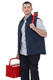Casual worker carrying wrench Royalty Free Stock Photography