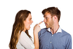 Casual young couple in an argument royalty free stock photography