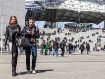 Casual Young Couple in La Defense Stock Photos