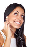 Casual Young Girl Listening Music Stock Photography