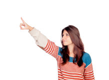 Casual young girl pointing something Royalty Free Stock Image