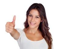 Casual young girl saying Ok Stock Photos