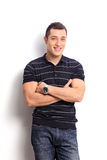 Casual young guy in a striped black and white shirt Stock Photos