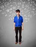 Casual young man with abstract white media icon doodles vector illustration