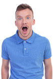 Casual young man is amazed Royalty Free Stock Photos