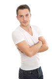 Casual young man crossed arms Royalty Free Stock Image