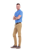 Casual young man with hands folded Royalty Free Stock Image