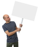 Casual young man holding a placard Stock Photography