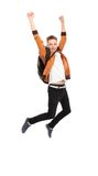 Casual young man jumping Royalty Free Stock Photo