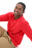 Casual Young Man in Long Sleeve Red Shirt
