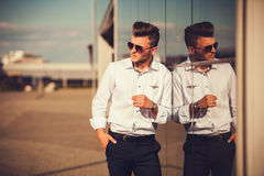 Casual young man outdoors Royalty Free Stock Image