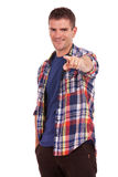 Casual young man pointing at you Royalty Free Stock Photo