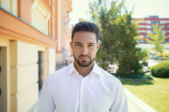 Casual young man posing outdoor portrait Stock Photo