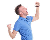 Casual young man screaming loudly Royalty Free Stock Photo