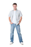 Casual young man in shirt and jeans Stock Photo