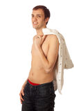 Shirtless Man in Jeans Stock Image