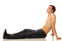 Shirtless Man in Jeans Royalty Free Stock Photo
