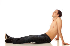 Shirtless Man in Jeans Royalty Free Stock Photos