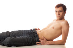 Shirtless Man in Jeans Royalty Free Stock Images