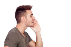 Casual young man shouting Stock Image