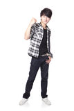 Casual young man show thumb up. In full body isolated on white background, asian model Stock Image
