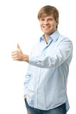 Casual young man showing OK sign Stock Photos