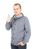 Casual young man showing thumb up Stock Image