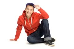 Casual young man sitting Royalty Free Stock Photography