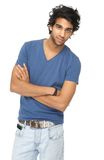 Casual young man standing with arms crossed Stock Images