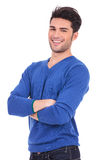 Casual young man standing with his hands crossed Stock Photography