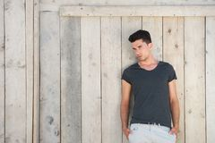 Casual young man standing outdoors Stock Images