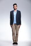 Casual young man standing straight Royalty Free Stock Photo