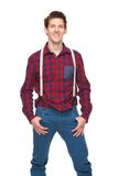 Casual young man with suspenders Royalty Free Stock Images