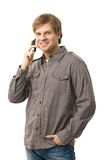 Casual young man talking on mobile Stock Photo