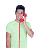 Casual young men calling by phone Stock Image
