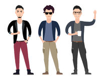 Casual young men character  flat set in different Royalty Free Stock Photos