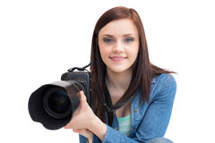 Casual young photographer posing Royalty Free Stock Image