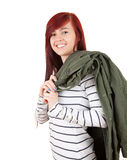 Casual young student woman smiling Stock Photos