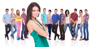 Casual young woman as a leader Royalty Free Stock Images