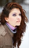Casual young woman outdoor in winter Royalty Free Stock Image