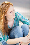 Casual Young Woman with Red Hair Royalty Free Stock Images