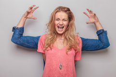 Casual young woman screaming Royalty Free Stock Photography