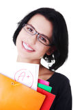 Casual young woman showing her perfect exam result. stock images
