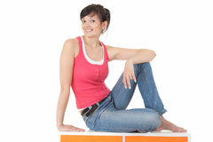 Casual young woman smiling, full length Stock Photography