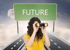 Casual young woman using binoculars Royalty Free Stock Photo