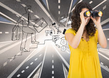 Casual young woman using binoculars. Composite image of casual young woman using binoculars royalty free stock photography
