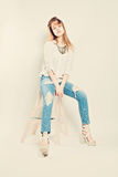 Casual Young Woman wearing Denim Royalty Free Stock Photo