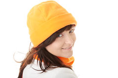 Casual young woman in winter hat Royalty Free Stock Photo